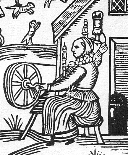 Woodcut showing an Elizabethan woman working at the spinning wheel