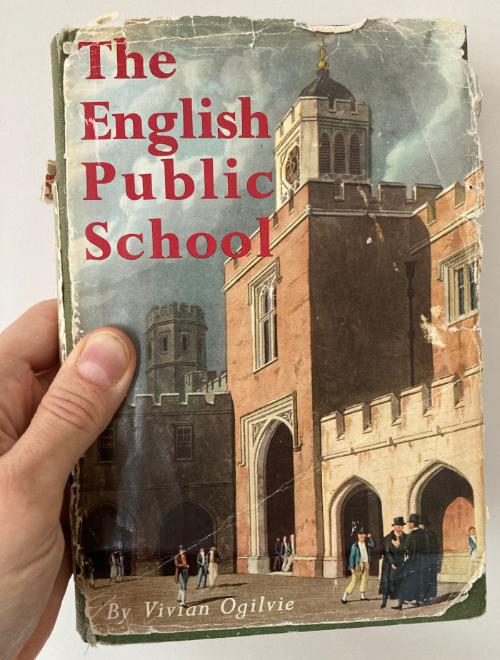 The cover of The English Public School, featuring a painting of Rugby School in 1816.