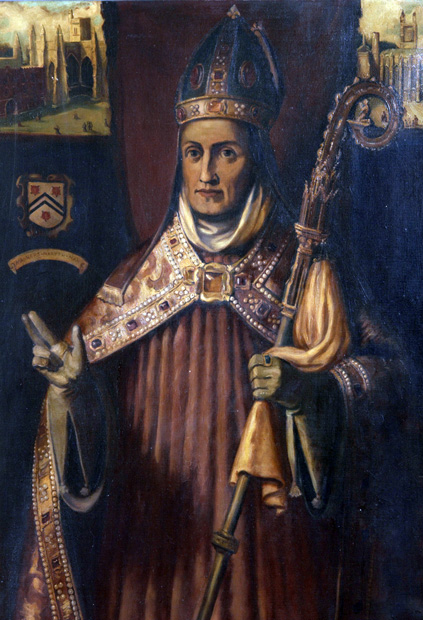 A painting of William of Wykeham in ceremonial garb.